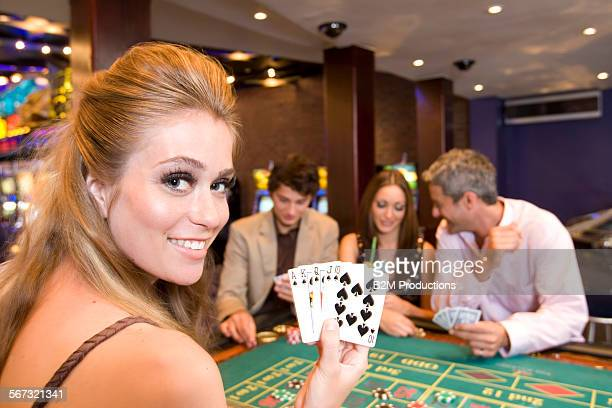 Friends playing in casino