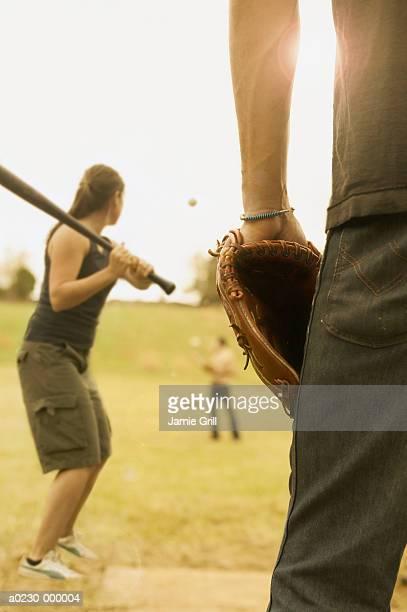 Friends Playing Softball