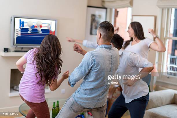 Friends playing video games - (own design on TV screen)