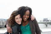 Friends posing by River Thames
