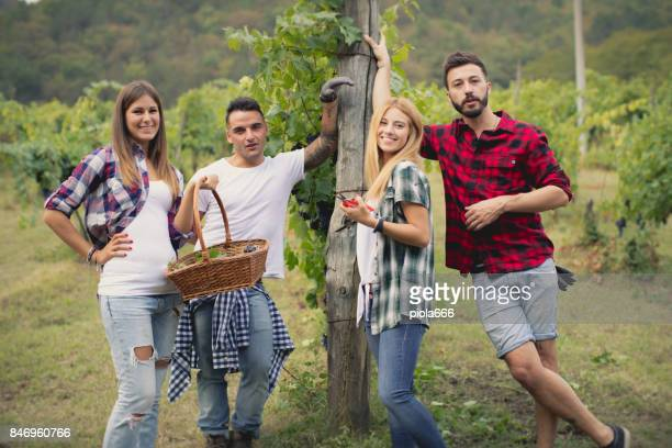 Friends posing for a photo during grapes harvesting
