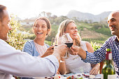 Happy friends raising their glasses in a toast outdoor in a winery farm. Smiling mature woman and men enjoying a picnic together at park. Middle aged multiethnic couple having dinner together and toas