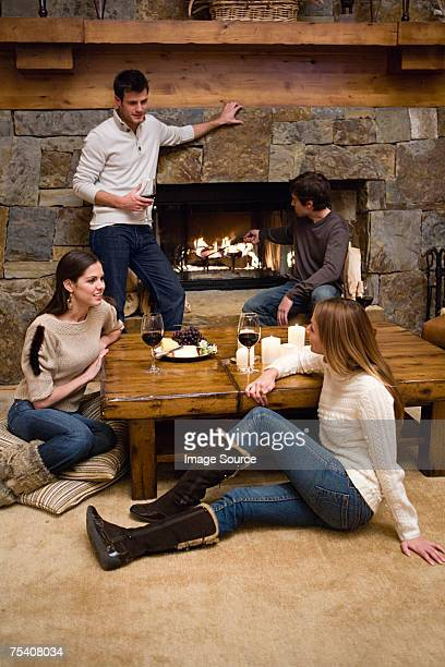 Friends relaxing in a chalet