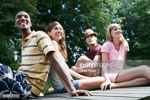 Friends Relaxing Outside : Foto de stock