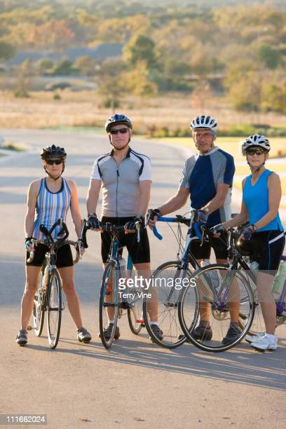 Friends riding bicycles together