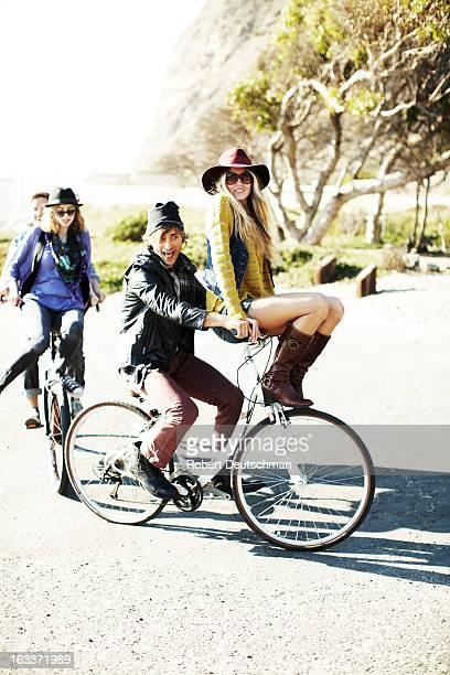 Friends riding bikes.