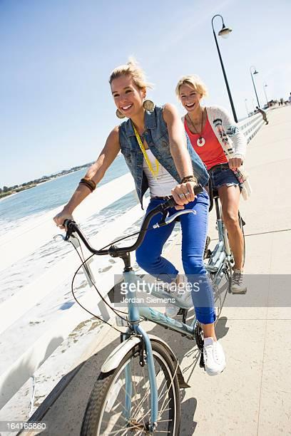 Friends riding cruiser bikes.