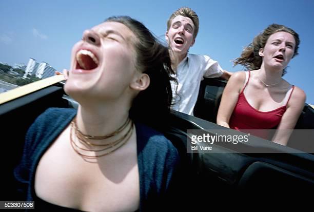 Friends Riding Roller Coaster