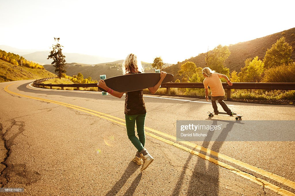 Friends riding skateboard.