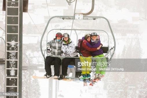 Friends riding ski lift
