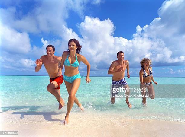 Friends running out of ocean