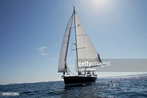 Friends sailing yacht, Adriatic sea : Stock Photo