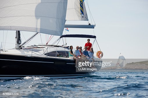 Friends sailing yacht : Stock Photo