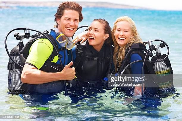 Friends scuba diving