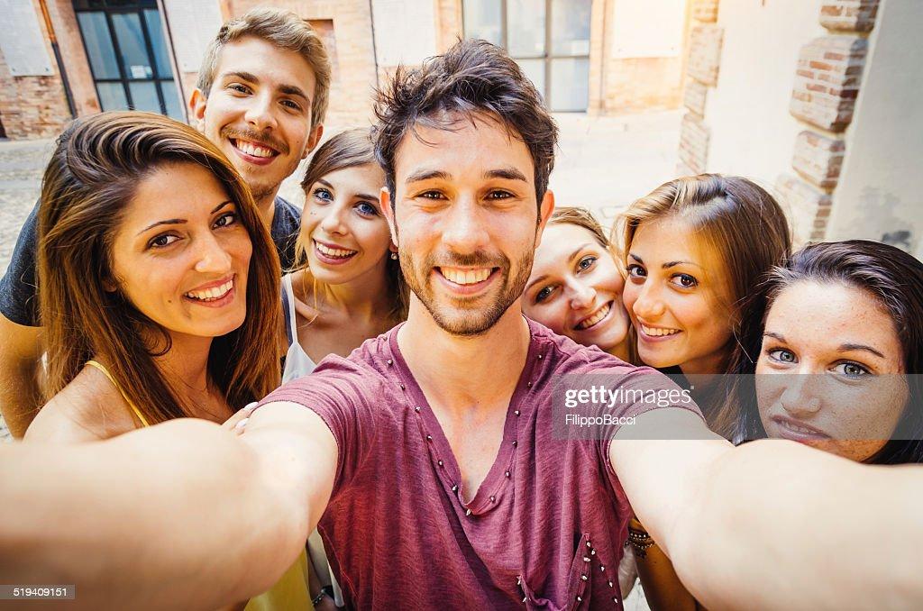 Friends Selfie In The City