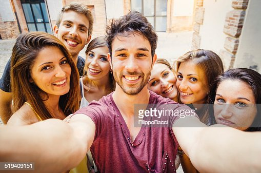Friends Selfie In The City