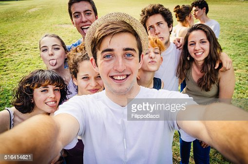 Friends Selfie In The Nature