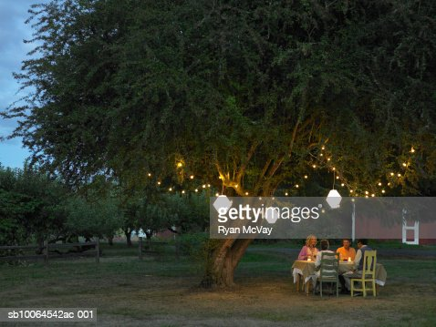 Friends sitting at table in yard at dusk
