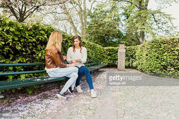 Friends sitting on bench by plants in park