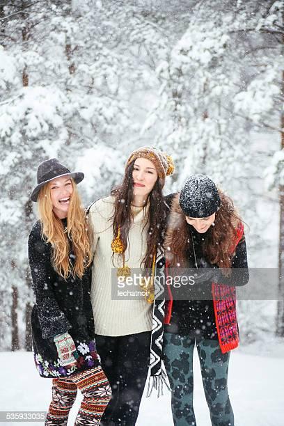 Freunde Lächeln im winter Natur