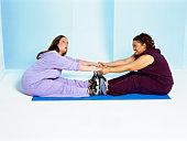 Friends stretching