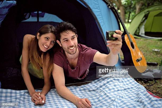Friends take their own Selfie at camping