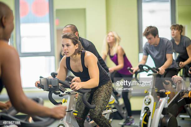 Friends Taking a Spin Class Together