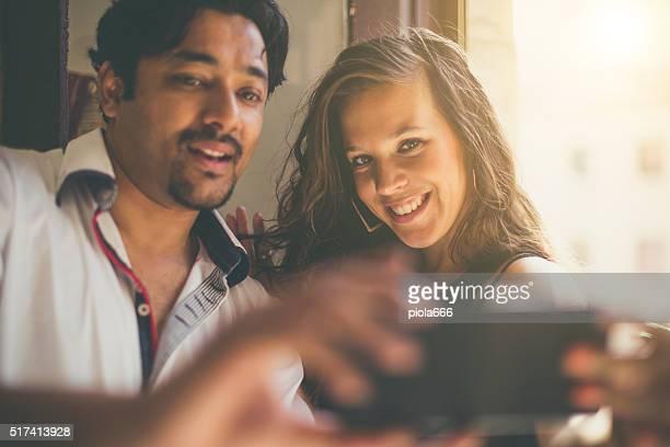 Friends taking a selfie in the b&b
