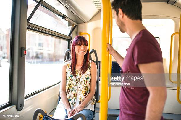 Friends talking togetherness on the bus