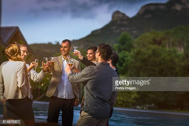Friends toasting wineglasses at poolside