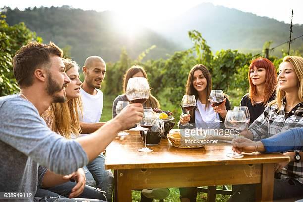 Amis portant un toast de vin rouge après la cueillette