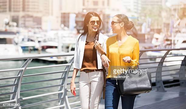 Friends walking outdoors