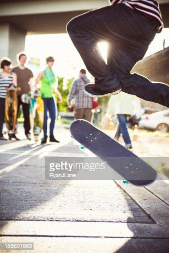 Friends Watching Skateboard Tricks