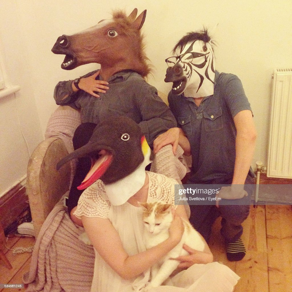 Friends Wearing Animal Masks At Home