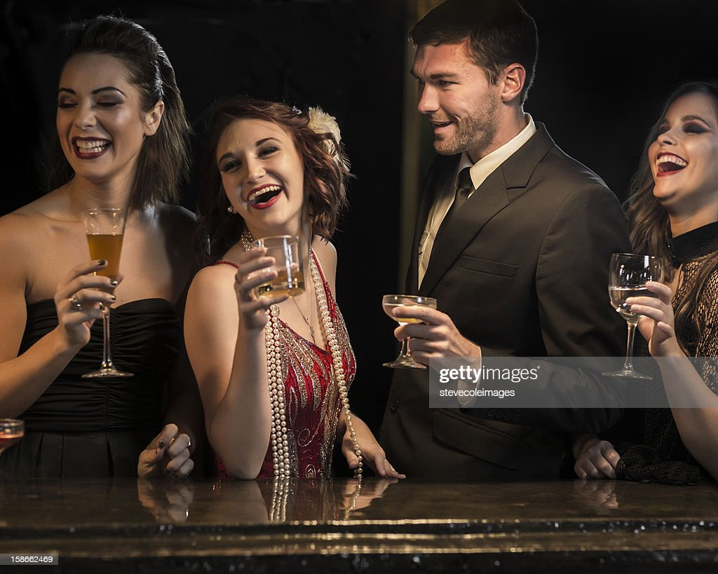 Friends With Drinks At Bar Counter. : Stock Photo