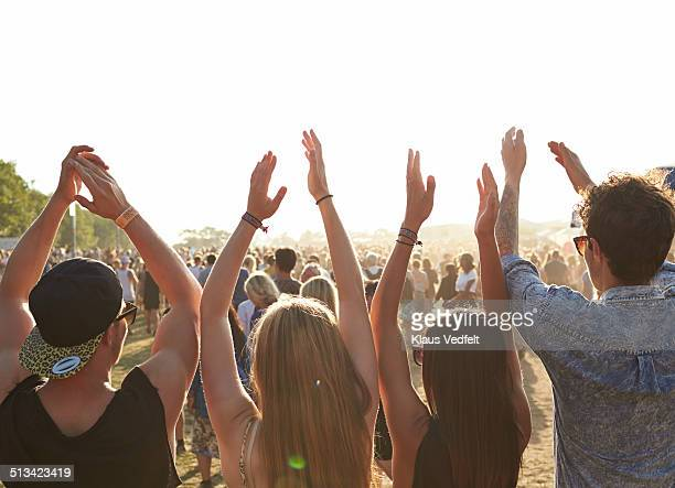 Friends with raised hands at outside music festiva