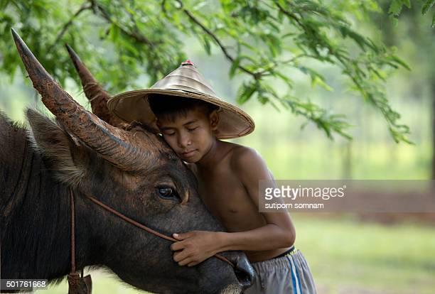 Friendship Love boy with buffalo