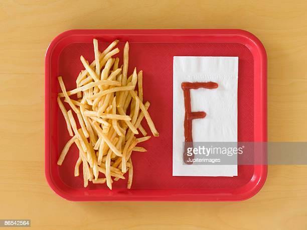 Fries and letter F written in ketchup