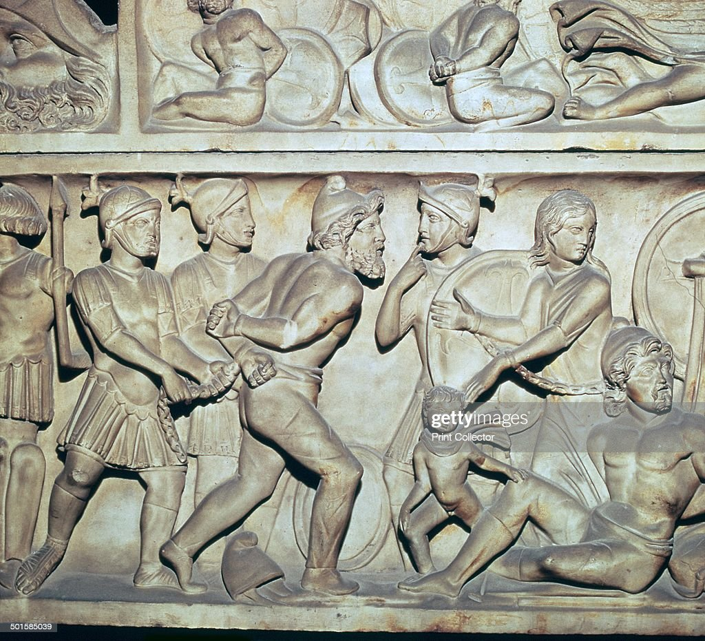 frieze of roman soldiers with barbarian captives pictures getty