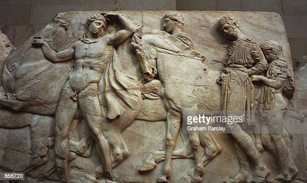 A frieze which forms part of the 'Elgin Marbles' taken from the Parthenon in Athens Greece almost two hundred years ago by the British aristocrat the...