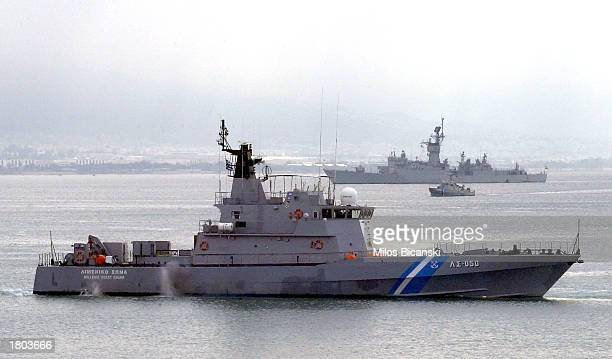 Frigates part of the NATO permanent fleet based in the Mediterranean Sea enter the port of Piraeus February 19 2003 in Greece Approximately one...