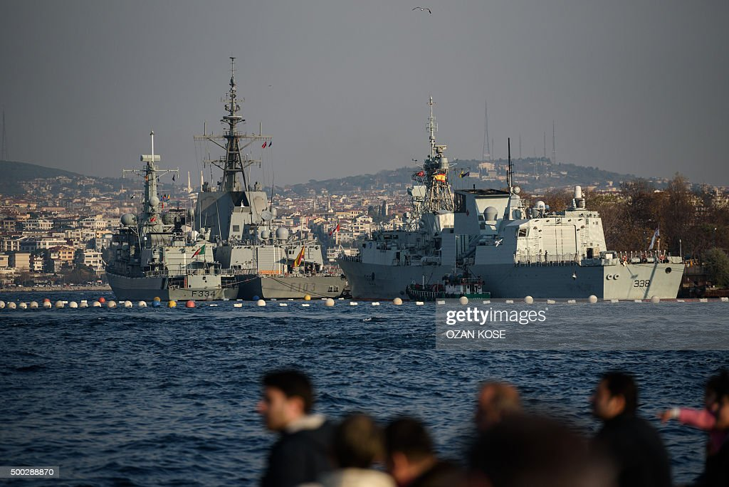 NATO frigates Sps Blas De Lezo of Spain Dom Francisco De Almeida of Portugal and HMCS Winnipeg of Canada are docked at Sarayburnu port in Istanbul on...