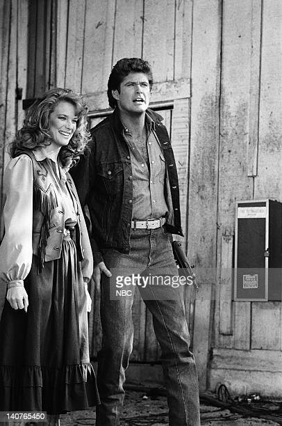 RIDER 'Fright Knight' Episode 20 Pictured Leann Hunley as Liz Preston David Hasselhoff as Michael Knight Photo by Jerry Wolfe/NBCU Photo Bank