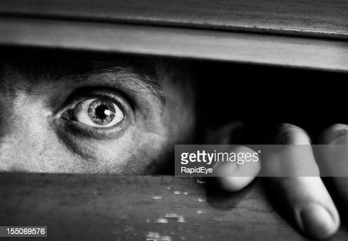 Frightened man peeps through wooden venetian blind. Black and white.