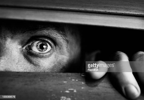 Frightened man peeps through wooden venetian blind. Black and white.