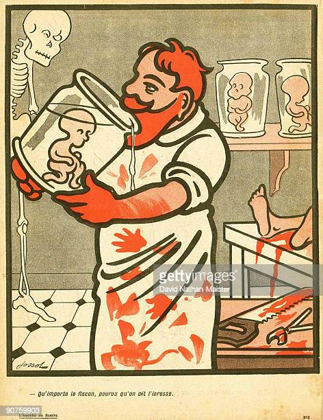 A frightening caricature by the anarchist artist Jossot showing a deranged mortician drinking formaldehyde used to preserve a dead foetus...