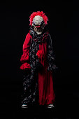 Frightening Clown Halloween Costume Portrait on Black