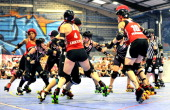 Frightning Bolt and Stefanie Mainey of London Rollergirls and Bonita Apple Bomb Violet Knockout and OMG WTF of Gotham Girls Roller Derby All Stars...