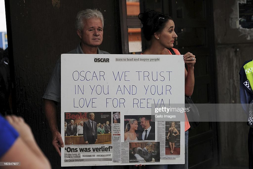 Frik and Claudia van Wyk outside the Pretoria Magistrates court on February 22, 2013, in Pretoria, South Africa. Oscar Pistorius is accused of the murder of Reeva Steenkamp on February 14, 2013. This marks day 4 of his bail hearing.
