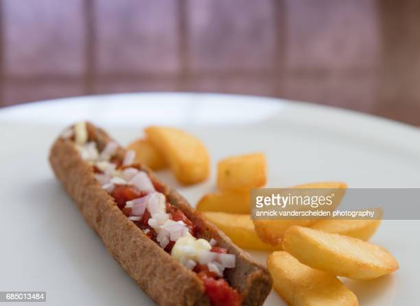 Frikandel and French fries.